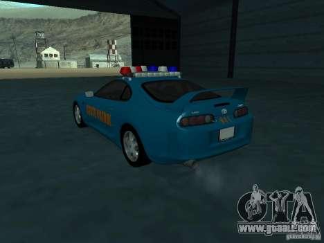 Toyota Supra California State Patrol for GTA San Andreas back left view