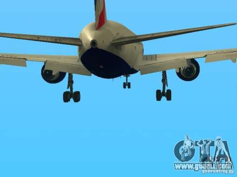 Boeing 767-300 British Airways for GTA San Andreas bottom view