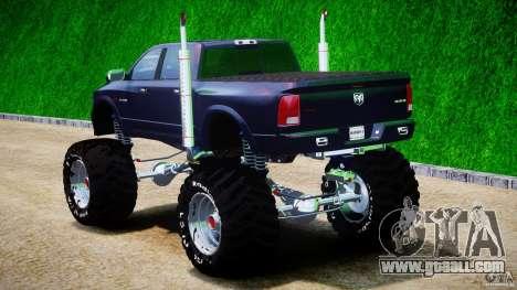 Dodge Ram 3500 2010 Monster Bigfut for GTA 4 back left view