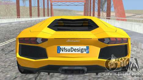Lamborghini Aventador LP700-4 2012 for GTA San Andreas inner view
