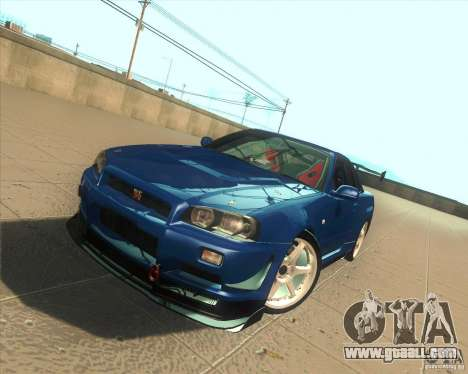 Nissan Skyline GT-R R34 M-Spec Nur for GTA San Andreas upper view