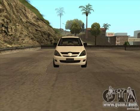 Toyota Innova for GTA San Andreas inner view
