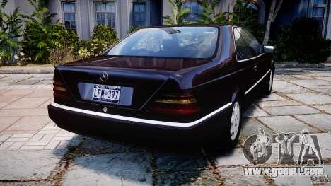 Mercedes-Benz 600SEC C140 1992 v1.0 for GTA 4 back left view