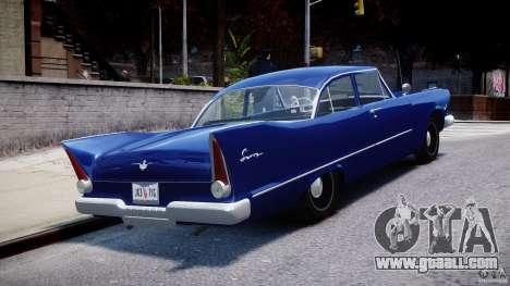 Plymouth Savoy Club Sedan 1957 for GTA 4 side view