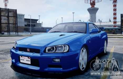 Nissan Skyline GT-R R34 Mspec for GTA 4
