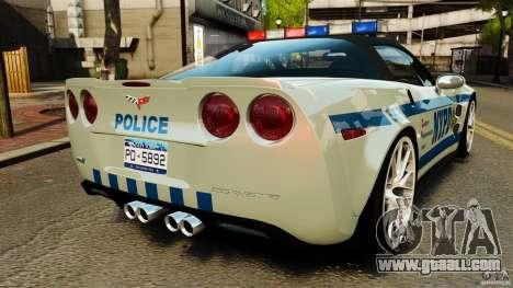Chevrolet Corvette ZR1 Police for GTA 4 back left view