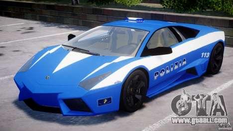 Lamborghini Reventon Polizia Italiana for GTA 4 upper view