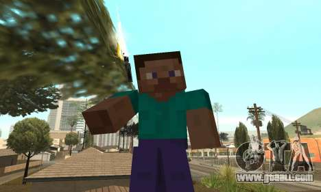 Steve from the game Minecraft skin for GTA San Andreas third screenshot