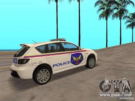 Mazda 3 Police for GTA San Andreas back left view