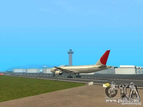 Boeing 777-200 Japan Airlines for GTA San Andreas right view
