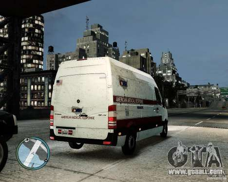 Mercedes Benz Sprinter American Medical Response for GTA 4 back view