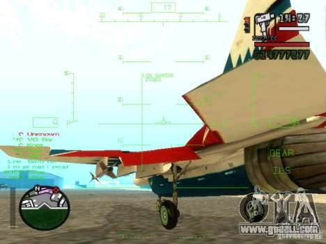 MIG 29 OVT for GTA San Andreas back view