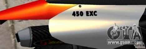 KTM EXC 450 for GTA 4 inner view
