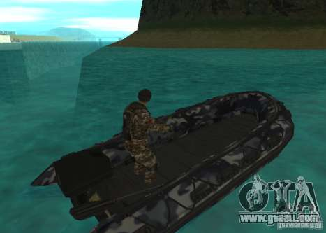 Zodiac inflatable boat for GTA San Andreas back left view