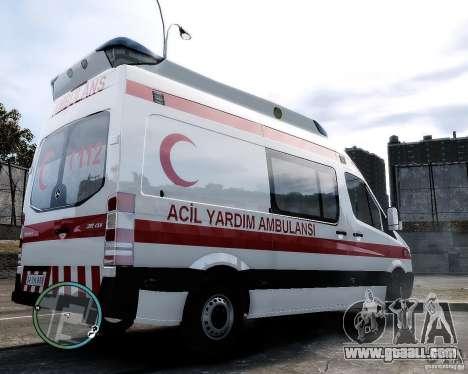 Mercedes Sprinter Turkish Ambulance for GTA 4 back left view