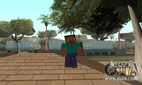 Steve from the game Minecraft skin for GTA San Andreas seventh screenshot