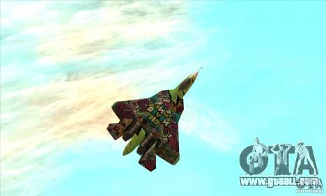 SU t-50 PAK FA Graffiti Skin for GTA San Andreas back left view