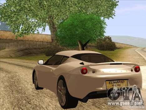 Lotus Evora for GTA San Andreas left view