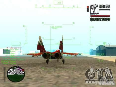 MIG 29 OVT for GTA San Andreas back left view