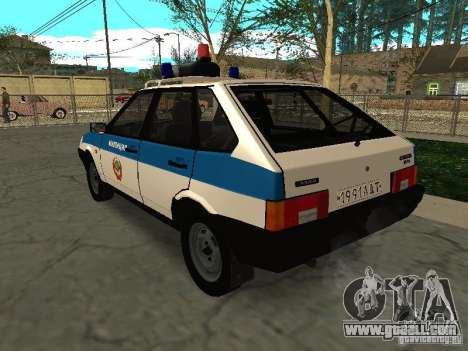 VAZ 2109 Police for GTA San Andreas back left view
