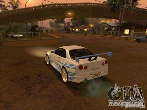 Nissan Skyline GT-R R34 2 Fast 2 Furious for GTA San Andreas left view