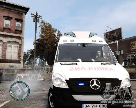 Mercedes Sprinter Turkish Ambulance for GTA 4 back view