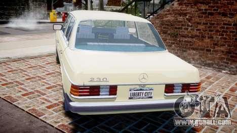 Mercedes-Benz 230E 1976 for GTA 4 back left view