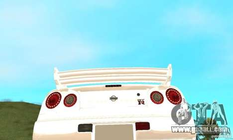 Nissan SkyLine R34 Tunable V2 for GTA San Andreas upper view