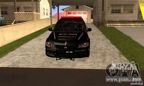 Mitsubishi Lancer Evo VIII MR Police for GTA San Andreas back left view
