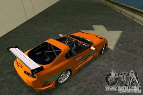 Toyota Supra Fast and the Furious for GTA Vice City back left view