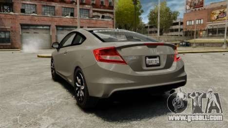 Honda Civic Si Coupe 2012 for GTA 4 back left view