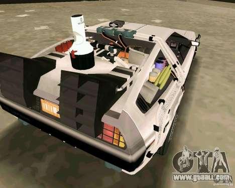 BTTF DeLorean DMC 12 for GTA Vice City inner view