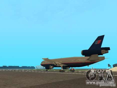 McDonell Douglas DC10 United Airlines for GTA San Andreas back left view
