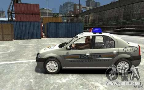 Dacia Logan Prestige Politie for GTA 4 left view