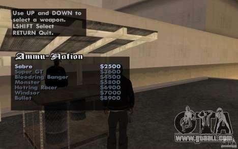 Cars shop in San-Fierro beta for GTA San Andreas third screenshot