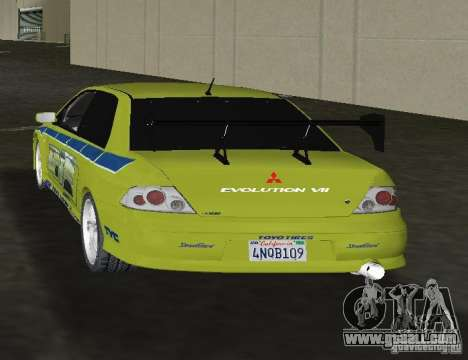 Mitsubishi Lancer Evolution VII for GTA Vice City back left view