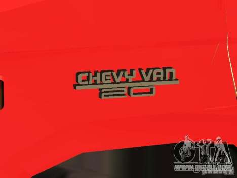 Chevrolet Van G20 LAFD for GTA San Andreas inner view
