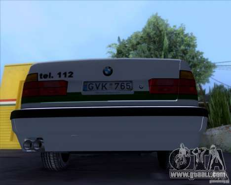 BMW E34 Policija for GTA San Andreas back view