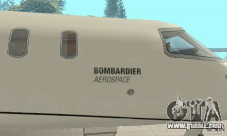 Bombardier Leardjet 45XR for GTA San Andreas back view