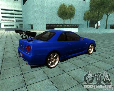 Nissan Skyline R-34 GT-R M-spec Nur for GTA San Andreas right view