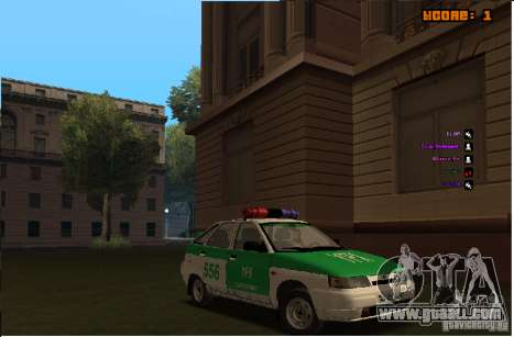 VAZ-2112 YPX Police for GTA San Andreas inner view