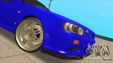 Nissan Skyline R34 FNF4 for GTA San Andreas inner view