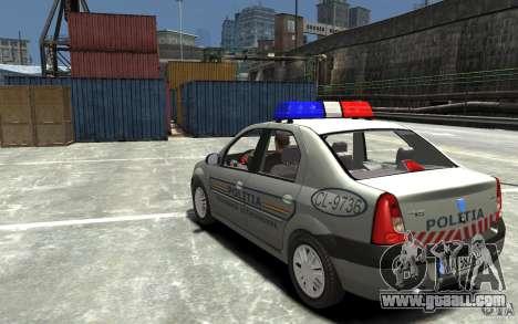 Dacia Logan Prestige Politie for GTA 4 back left view