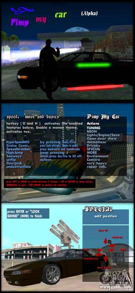 Pimp my Car Full (Alpha 1 ) for GTA San Andreas