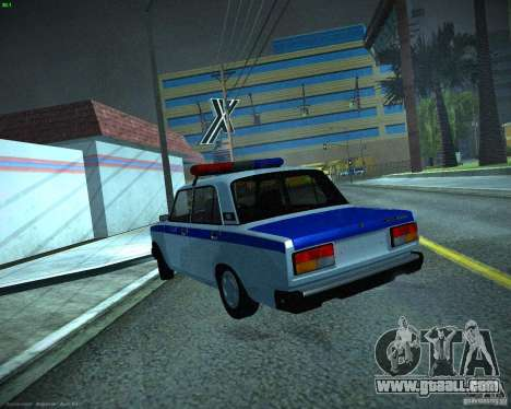 VAZ 2107 Police for GTA San Andreas back left view