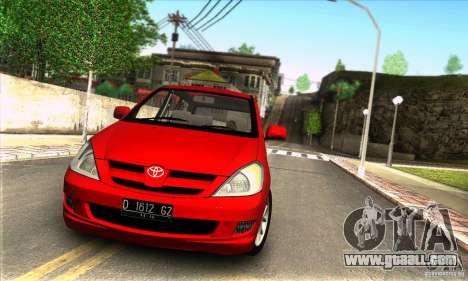Toyota Kijang Innova 2.0 G for GTA San Andreas back left view