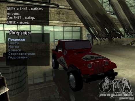 Jeep Wrangler 1986 4.0 Fury v.3.0 for GTA San Andreas side view