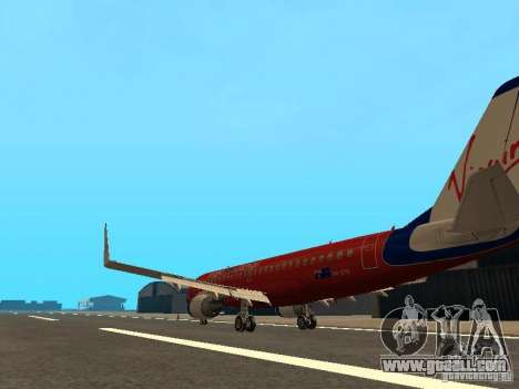 Embraer ERJ 190 Virgin Blue for GTA San Andreas back left view