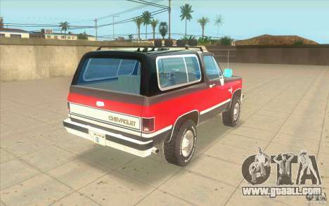 Chevrolet Blazer K5 Stock 1986 for GTA San Andreas back left view