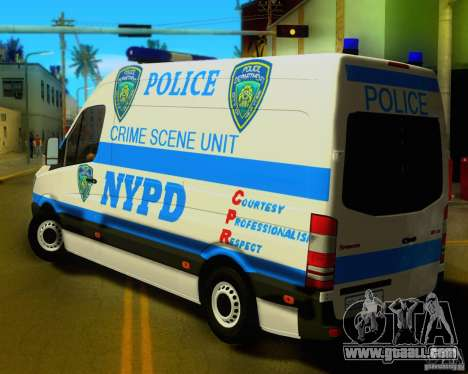 Mercedes Benz Sprinter NYPD police for GTA San Andreas back left view